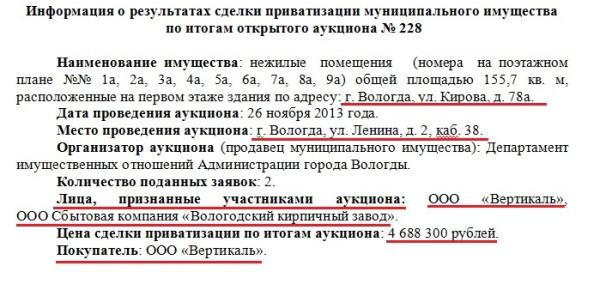 Аукцион по Кирова 78А результат