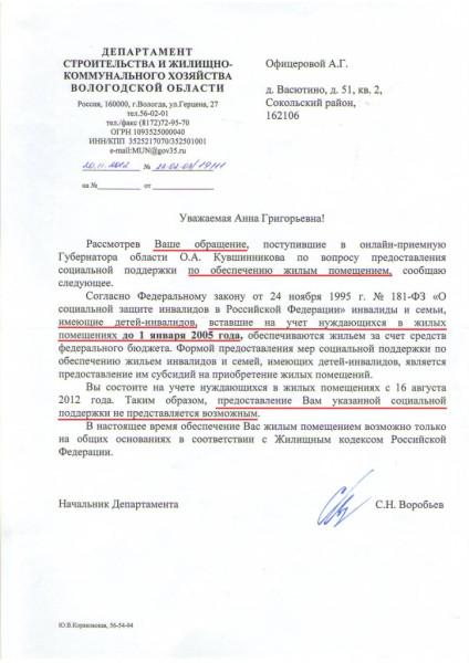 Ответ Анне Офицеровой от губернатора Кувшинникова