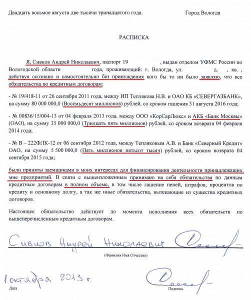 Расписка Сивкова Андрея Николаевича