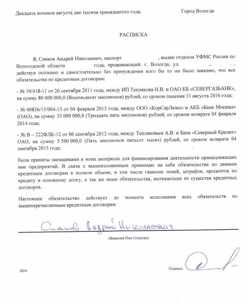 Расписка Сивкова Андрея Николаевича вариант 2