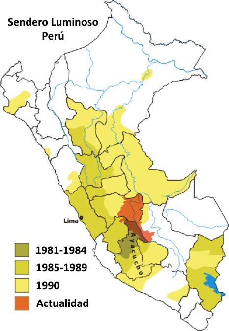 Расстановка сил в Перу (оранж. - область активности КПП - Сияющий путь в настоящее время) [6]