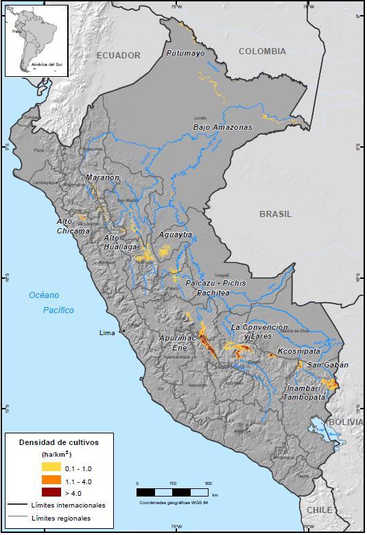Культивация коки в Перу в 2015 г. [5]