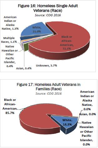 Расовый состав бомжей (№ 16 - одиночки, № 14 - семьи) ветеранов преступных американских войн в вашингтонской агломерации