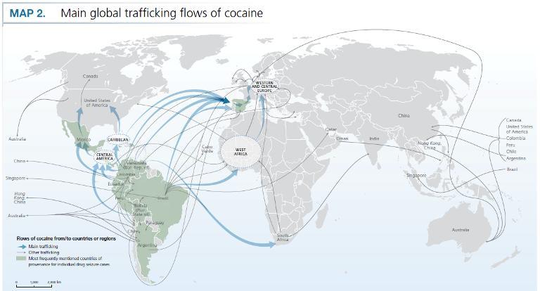 Через бразильские порты южноамериканский кокаин поставляется на рынок Европы (Три карты мирового наркотрафика).