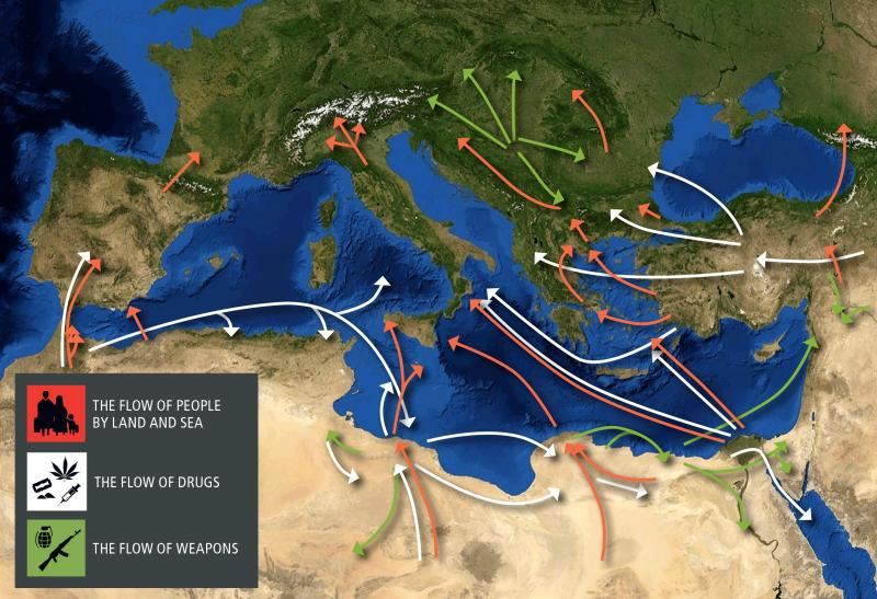 Трафик мигрантов (красная), наркотиков (белая) и оружия (зелёная) в средиземноморском регионе