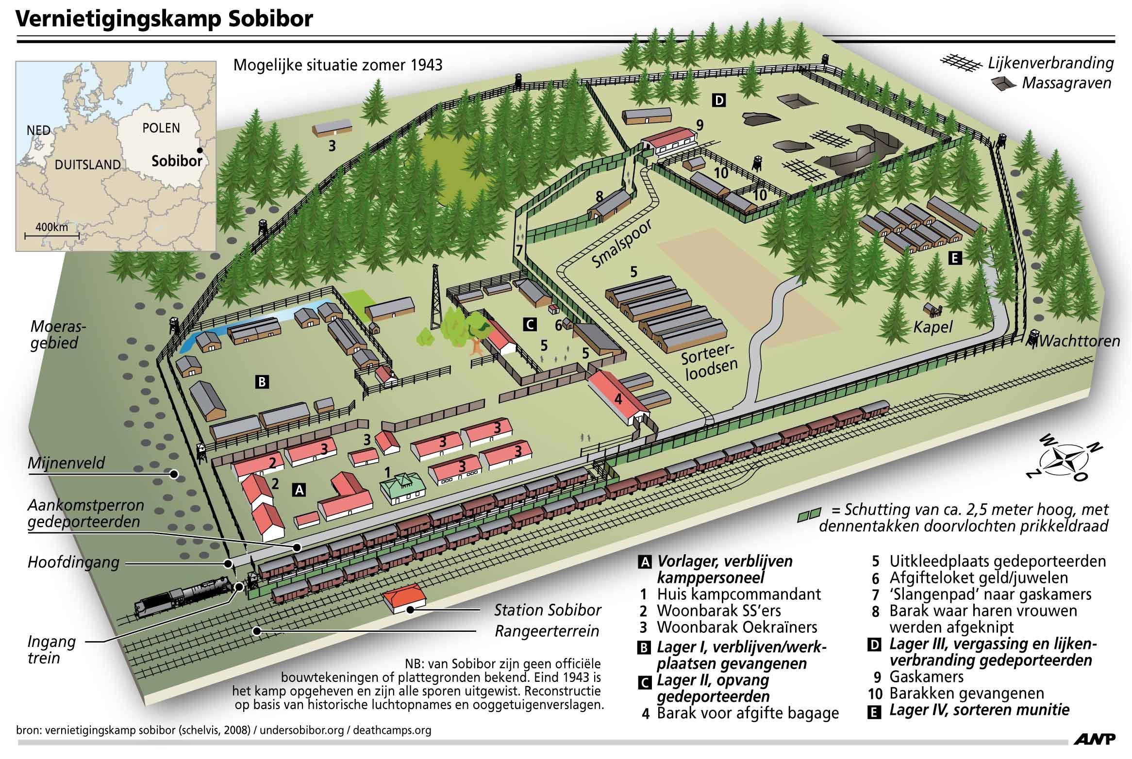 Карта Собибора согласно принятой версии (газовые камеры и места захоронения расположены в верхней правой части)