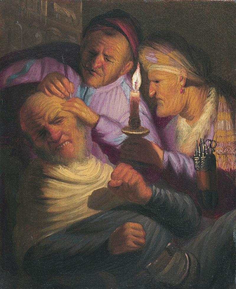 Рембрандт Харменс ван Рейн. Извлечение камня глупости (Аллегория осязания). 1624-1625, примерно
