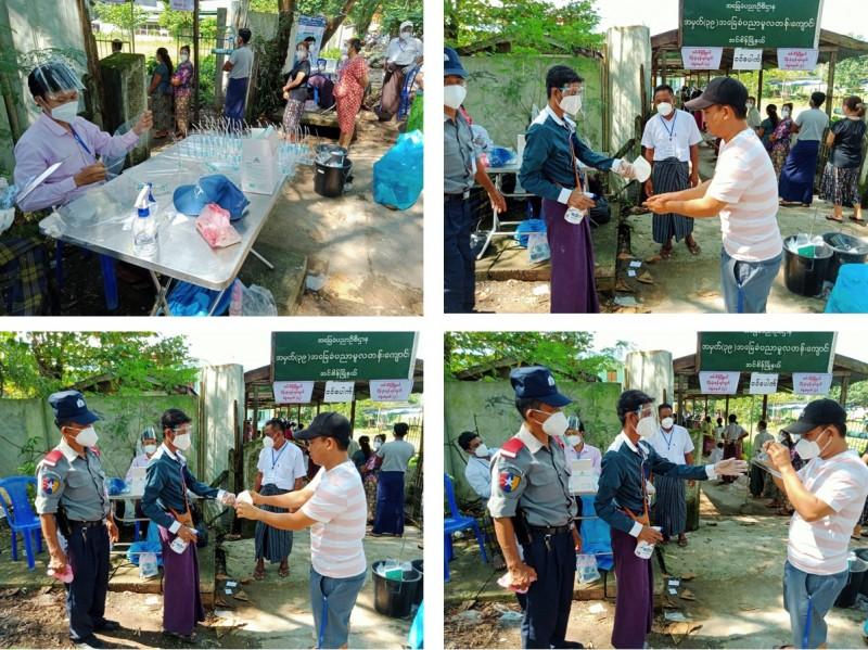 Затем избирателям дезинфицировали руки, и они получали новые маски (KN-95), плюс щиток для лица. В последние недели перед голосованием из Китая прибыло 12 грузовых авиарейсов (пять в Мандалай и семь в Янгон) со средствами индивидуальной защиты для работников избиркомов и добровольцев на пунктах для голосования, а также с большими партиями масок KN-95 для избирателей.