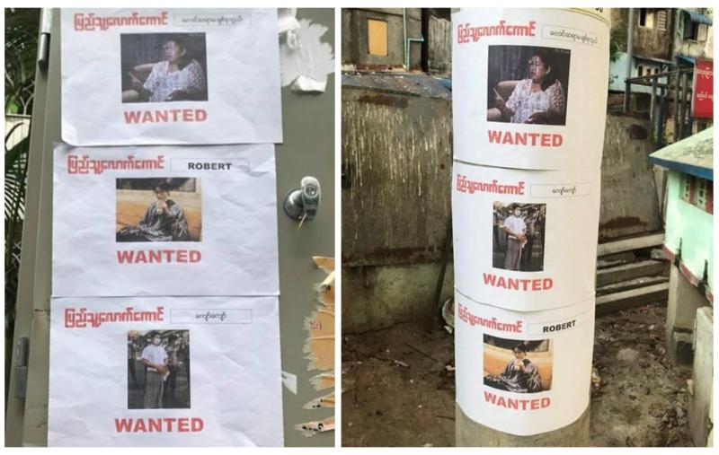 Портреты «предателей народа», расклеенные активистами протеста на столбах и на стенах домов в одном из районов Янгона.