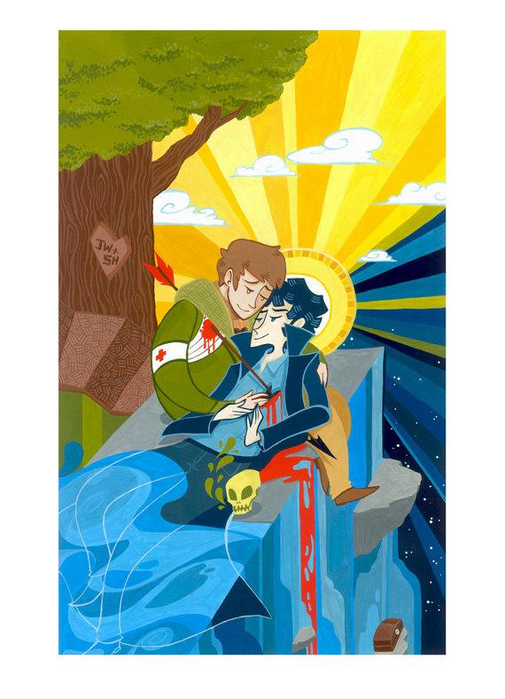UnicornEmpirePrints Hold My Heart Gouache Painting Print
