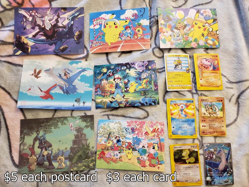 Sugimori postcards are from the Pokemon Center 2014 collectible art campaign, the Extra-Dimensional Battle card features (palkia, dialga, darkrai), the Sky Where Lati@s Roam card features (latias, latios, remoraid, fearow), the Mew's Presence card features (lucario, minun, plusle, mew, tyranitar, diglett), Fukuyama Keiko (ふくやまけいこ) cards commemorating the launch of Pokemon Pikachu/ Pokemon Yellow, the Tokyo-Bay postcard features (pikachu, dedenne, lucario, chespin, froakie, fennekin, inkay)