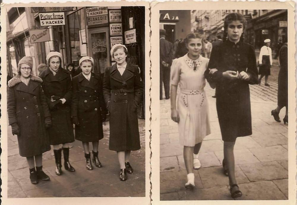 fete la plimbare prin Cernăuți, anii '30 (Foto Bellona Cernăuți, strada Romană no. 7)