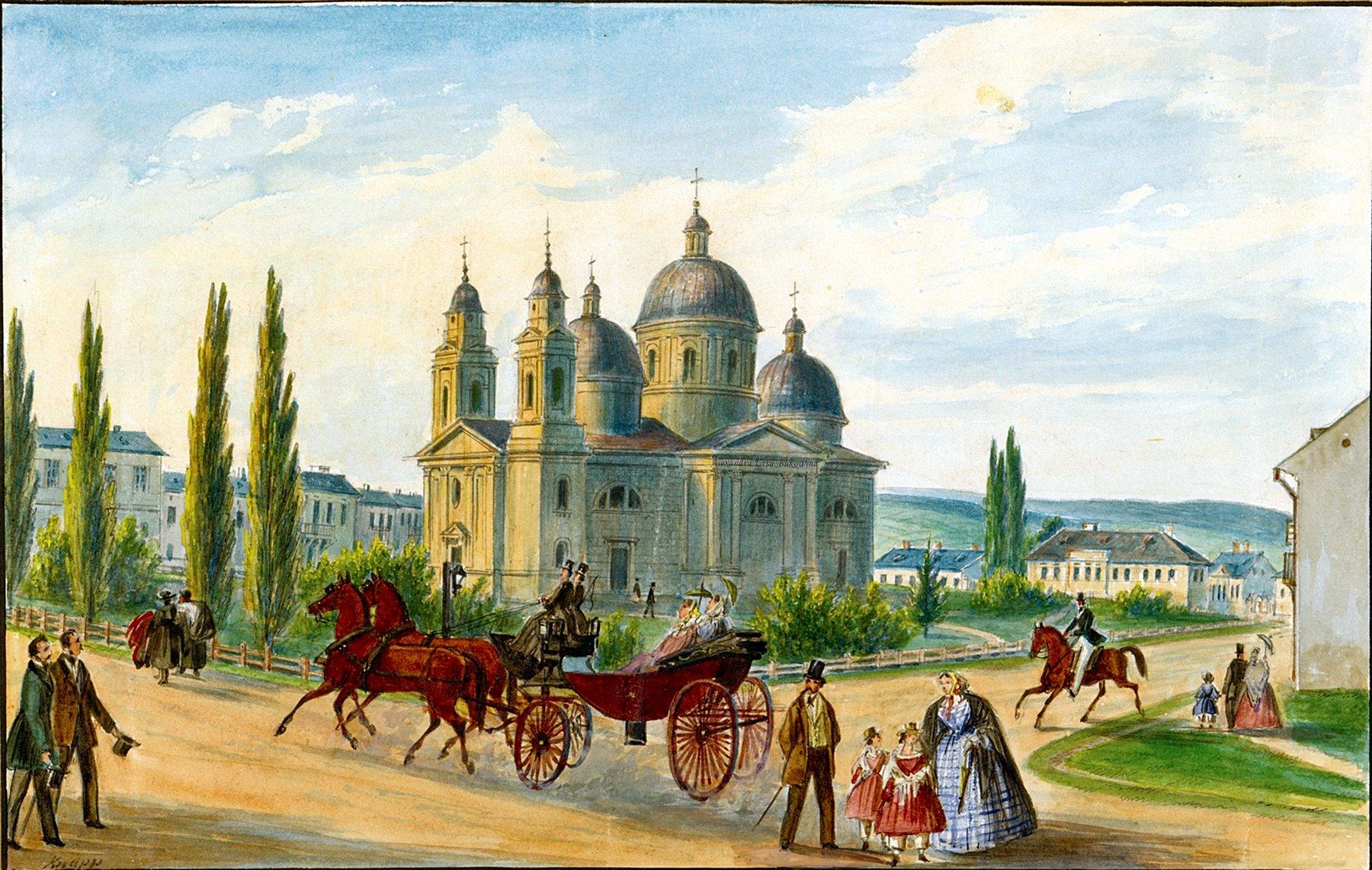 Oameni si locuri din Bucovina.Griechisch orientalische Kathedrale in Czernowitz.Franz Xavier Knapp(1809-1883).