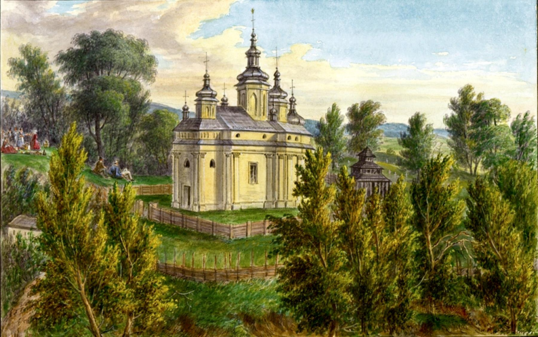 Oameni si locuri din Bucovina.Griech. nicht. unir. Pfarrkirche in Horecza.Franz Xavier Knapp(1809-1883).