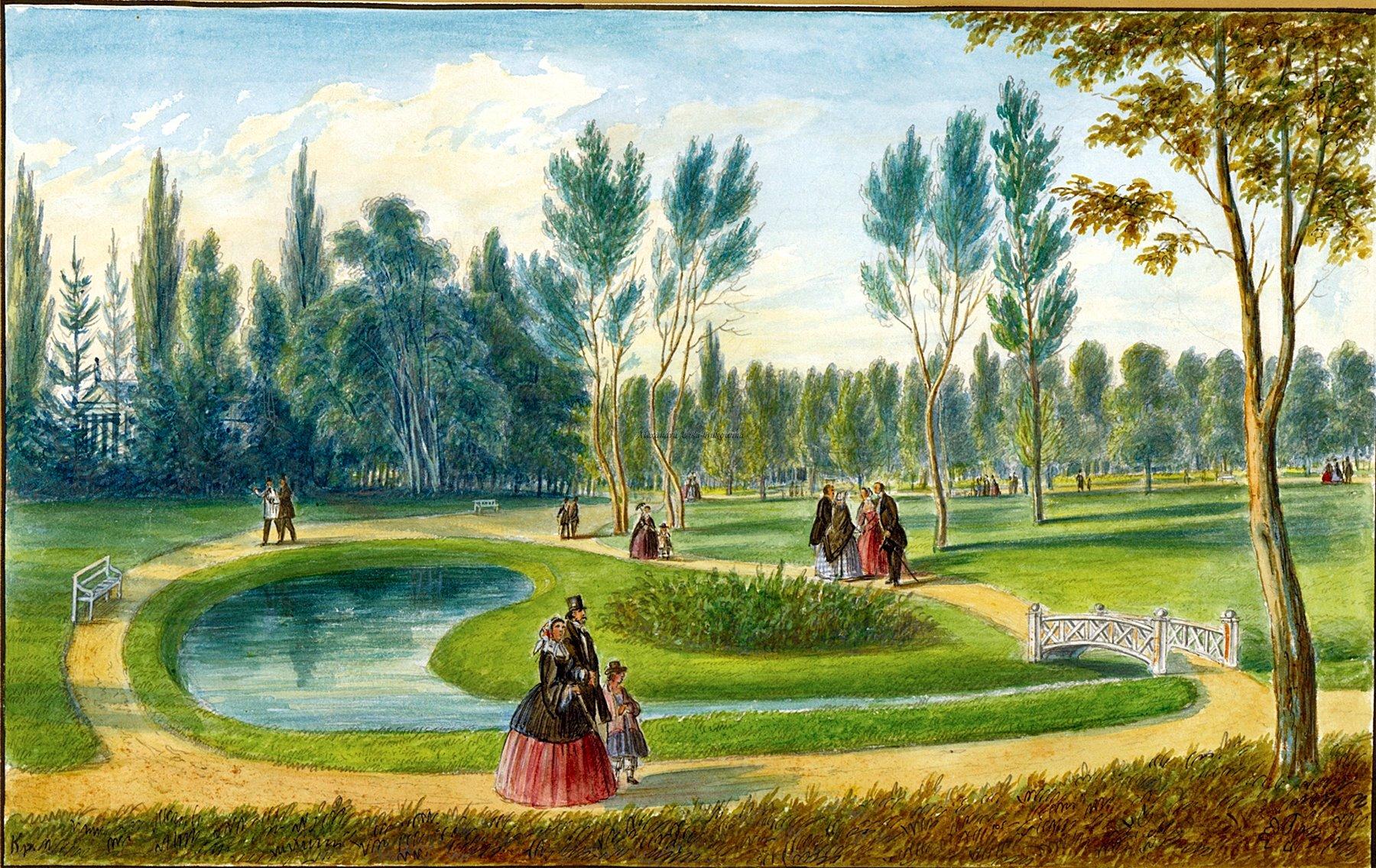 Oameni si locuri din Bucovina.VolksGarten Partie in Czernowitz.Franz Xavier Knapp(1809-1883)
