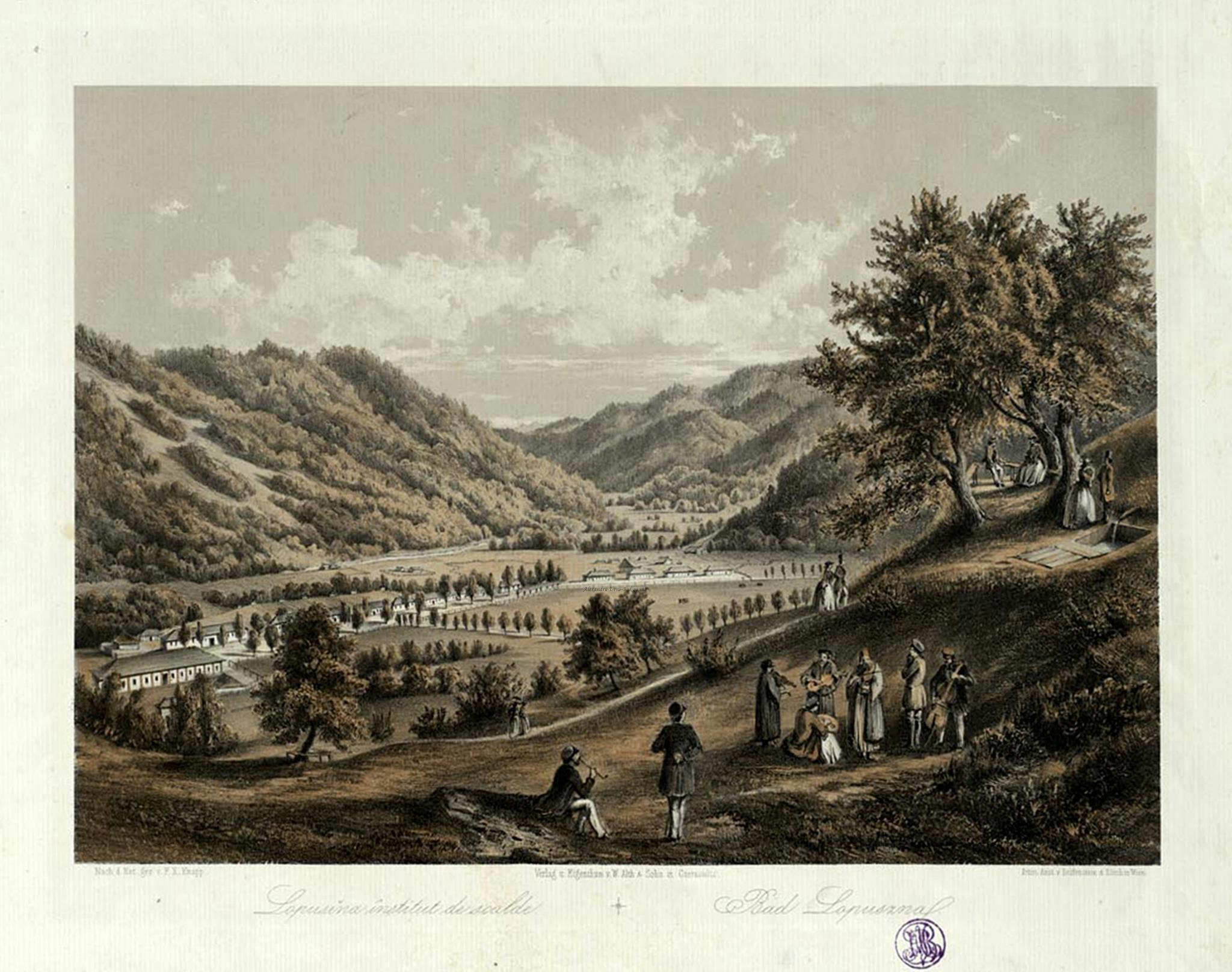 Oameni si locuri din Bucovina. Lapusna Institut de scalde. Bad Lopuszna. 1870. F. X. Knapp