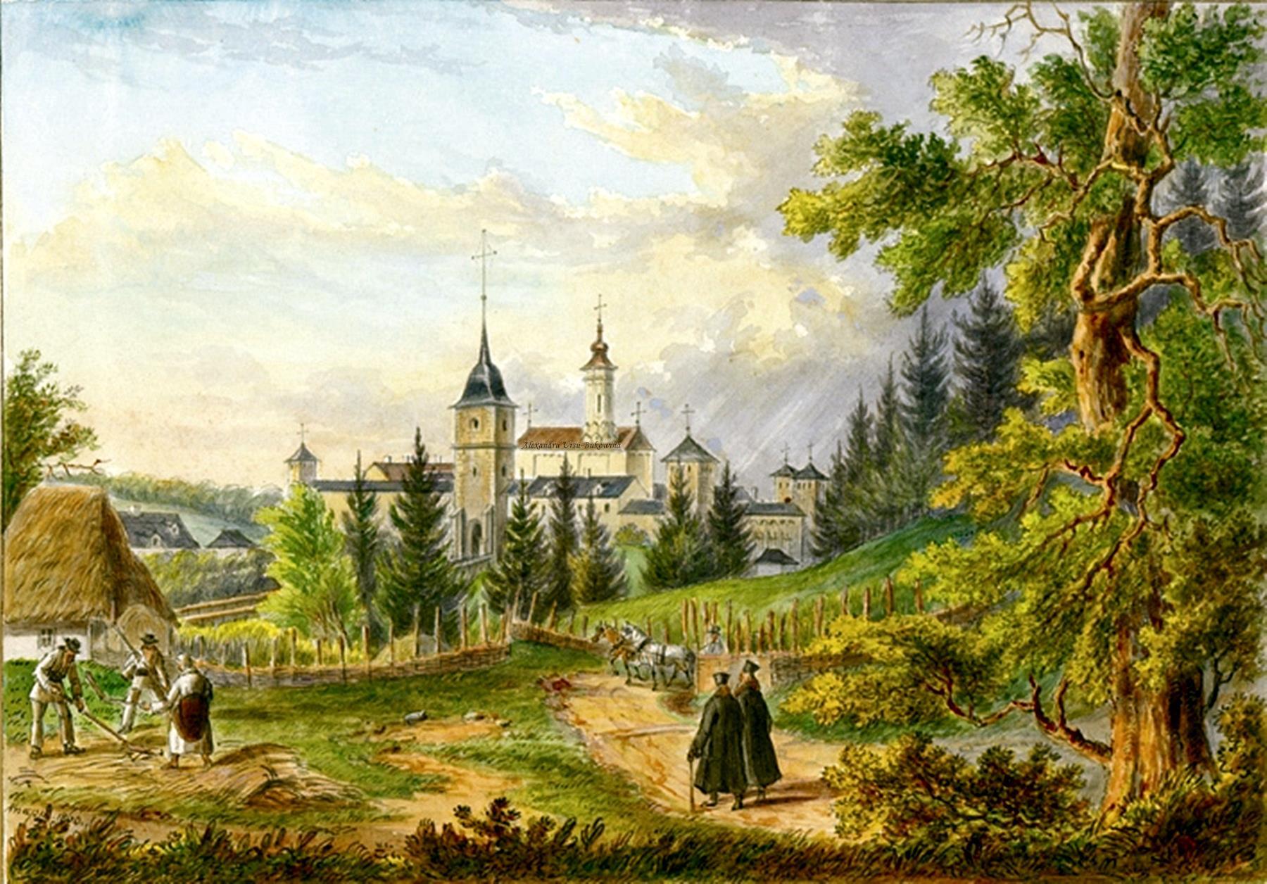 Oameni si locuri din Bucovina.Griech. nicht. unir. Kloster Dragomirna.Franz Xavier Knapp(1809-1883