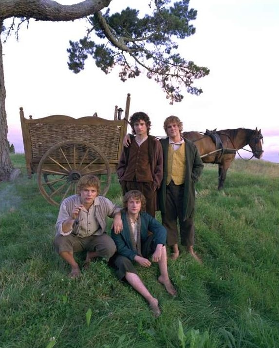 four hobbits and a waggon