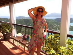 Amber on the deck of Skyflower Villa