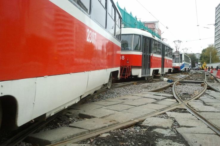 Ремонт трамвайных путей на ул. Бауманская