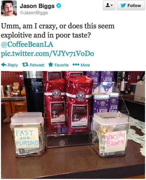 Jason Biggs Paul Walker Inspired Tip Jars At Coffee Bean Seem