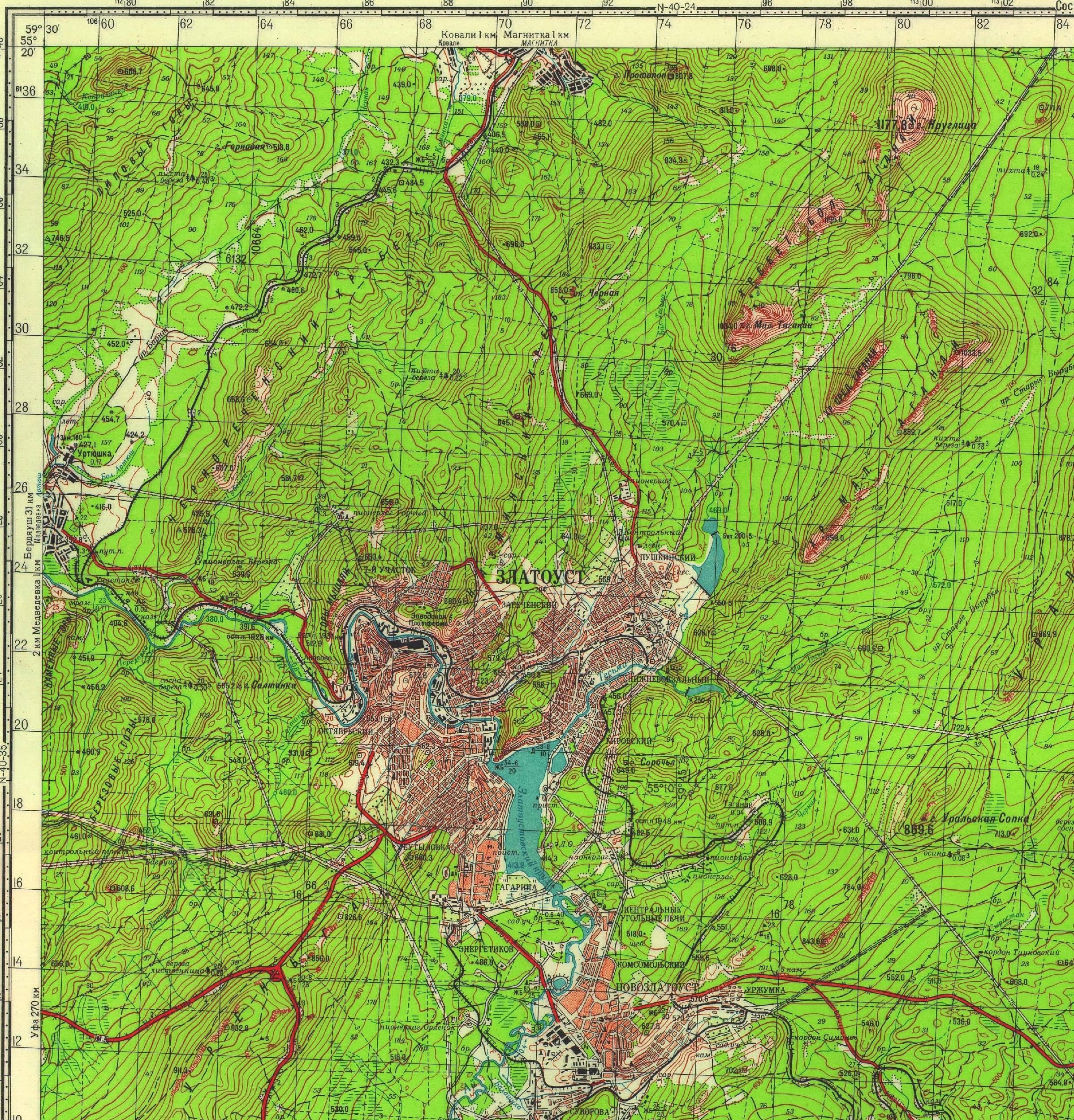 Топографическая карта окрестностей Златоуста