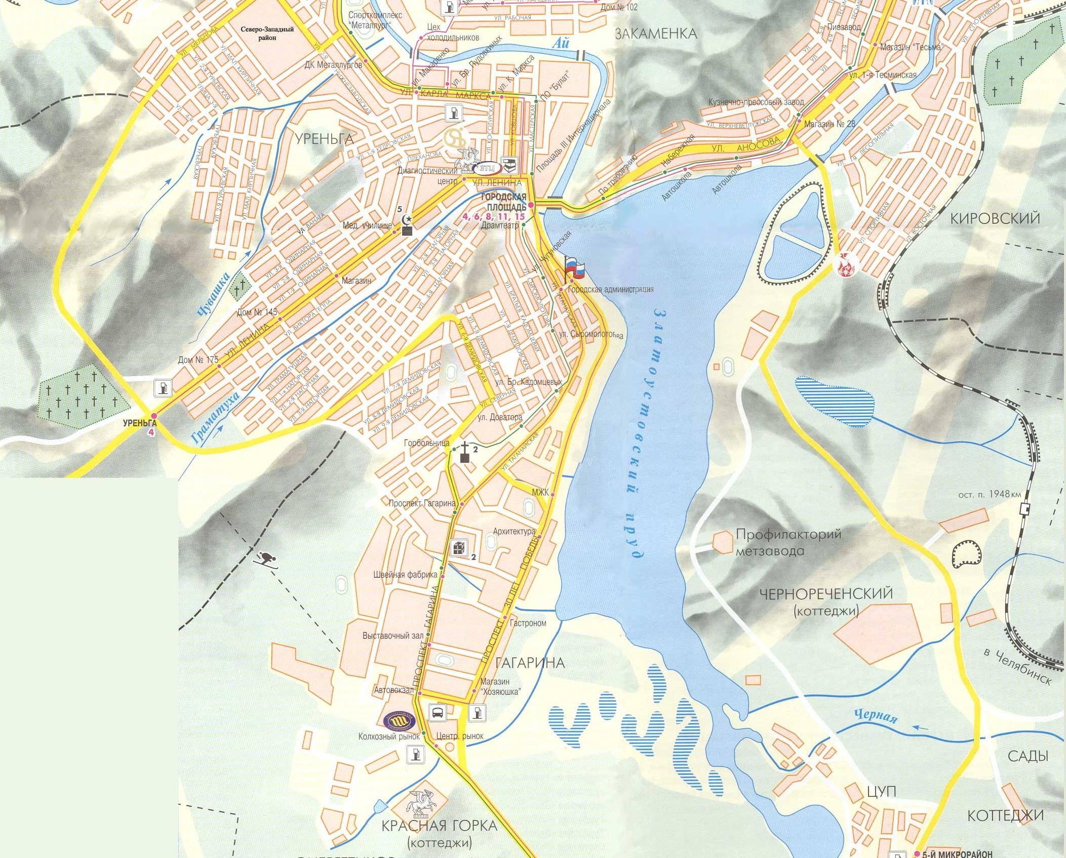Карта центра Златоуста