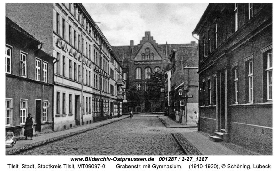 ID001287-Tilsit_Grabenstrasse_mit_Gymnasium_ca1930
