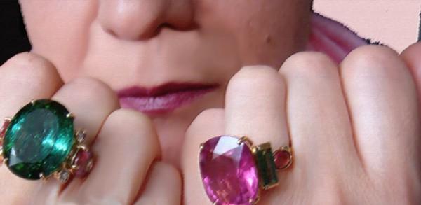 Кольца. Турмалин, бриллиант