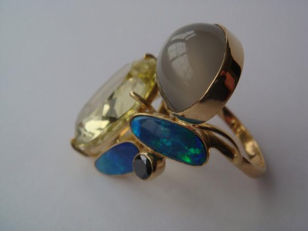 Кольцо лунный камень, опал, цитрин (3)
