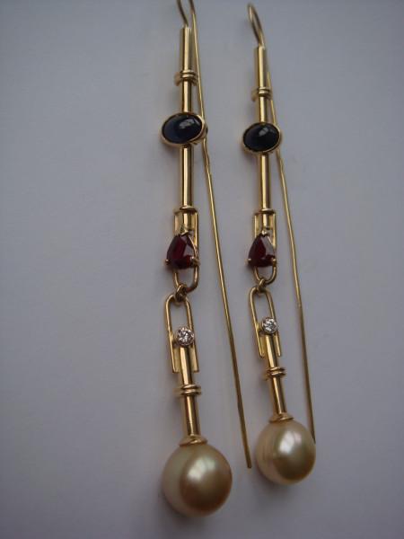 Серьги золотой жемчуг, рубины, сапфиры (1)