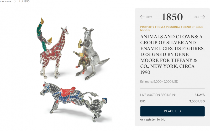 Клоуны, зебры и кенгуру - начальная цена за 3 фигурки 3500 долларов!