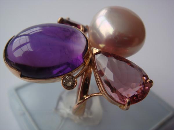Кольцо аметист кабошон, турмалин, барочный жемчуг(3)