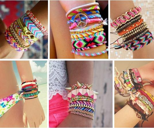 Разноцветные драгоценные браслеты