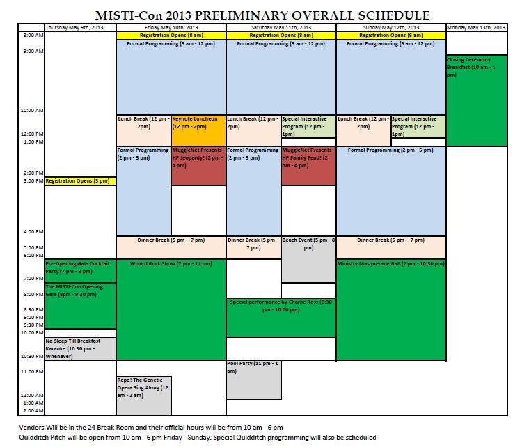 Misti-con draft schedule