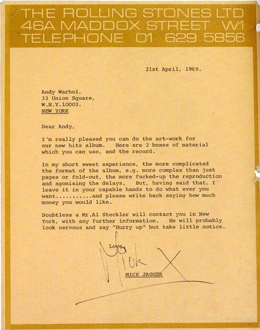 Letter to Andy Warhol Mick Jagger From