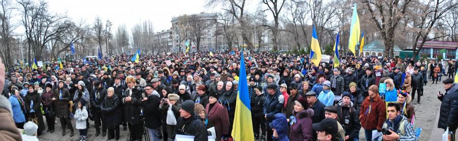 Днепроетровск, панорама митинга у парка им. Чкалова
