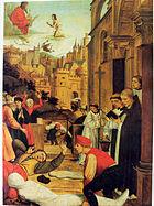 Святой Себастьян молится за жертв Юстиниановой чумы.