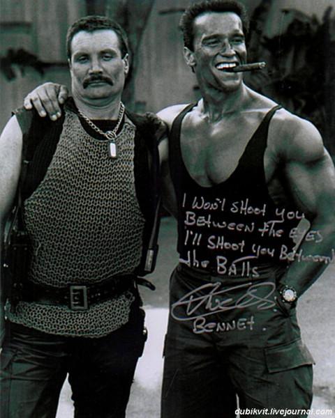 0036 Арнольд Шварценеггер и Вернон Уэллс на съемках «Командос»
