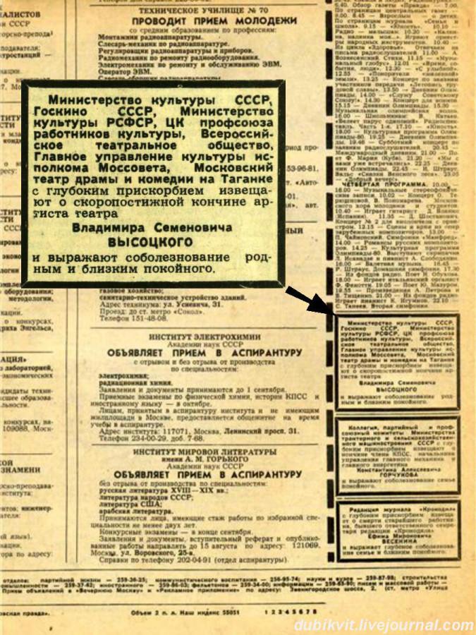 070 Сообщение в советской прессе о смерти В.С.Высоцкого. Некролог в газете Московкая правда