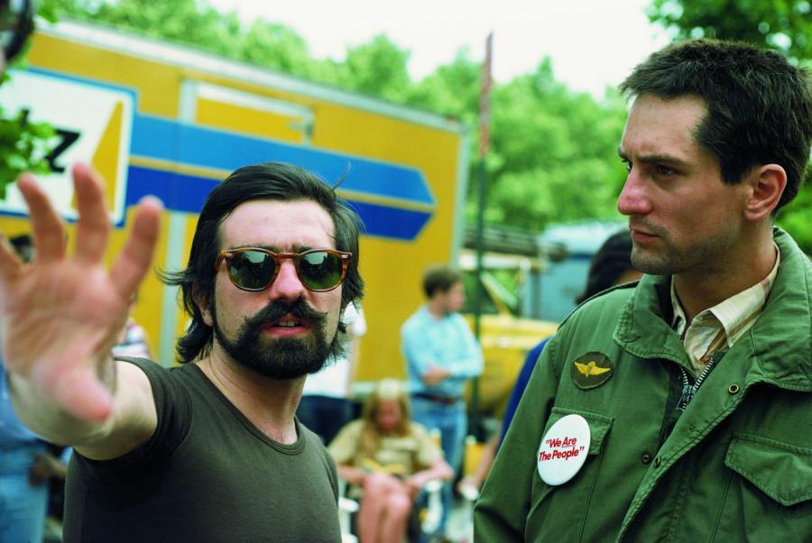 Роберт Де Ниро и Мартин Скорсезе на съемках фильма «Таксист», 1976
