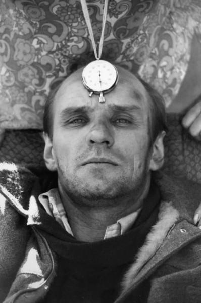 А. Солоницын на съёмках фильма Сталкер. Автор Гневашев Игорь, 1979