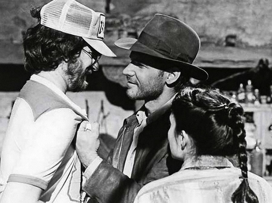 Harrison Ford and George Lucas in  Raiders of the Lost  Ark