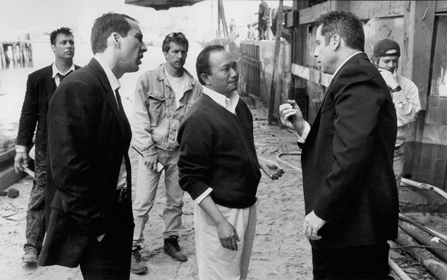 Николас Кейдж, Джон Траволта и Джон Ву на съёмках фильма Без лица