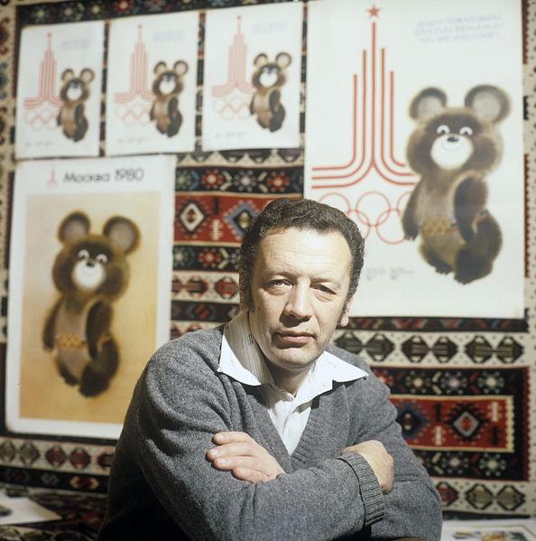 043 9 В.А.Чижиков и олимпийский Мишка, 1980-е годы