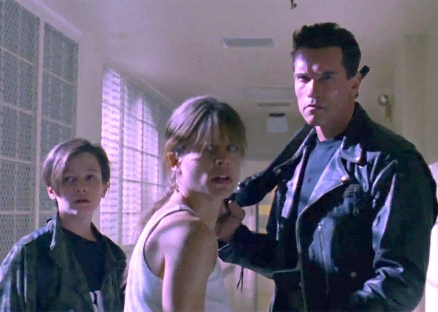 Sarah Connor, John Connor and the T-800 in