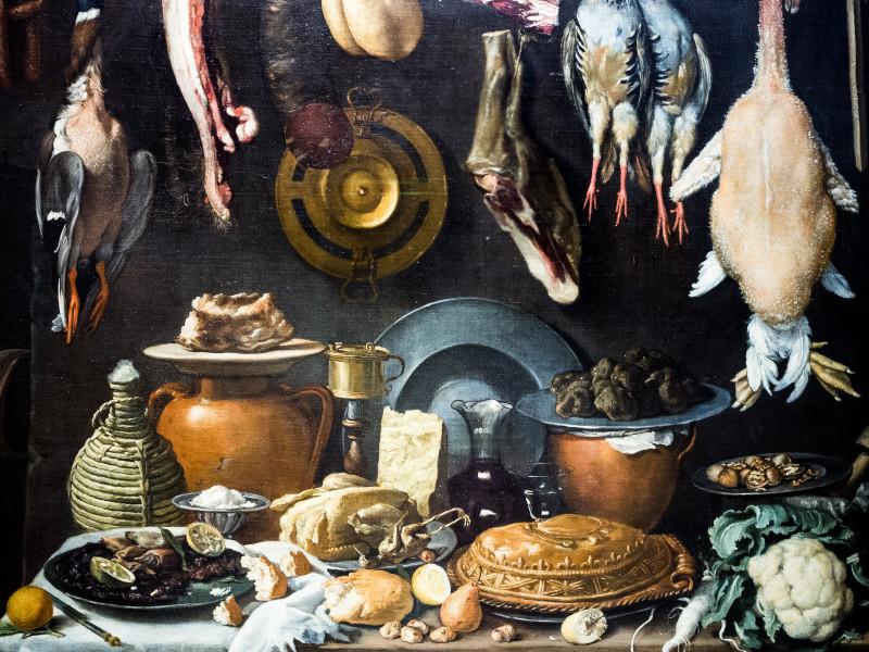 Якопо да Эмполи (Клименти). Натюрморт с бочками, дичью, мясом и глиняной посудой. 1624 г. Галерея Уффици