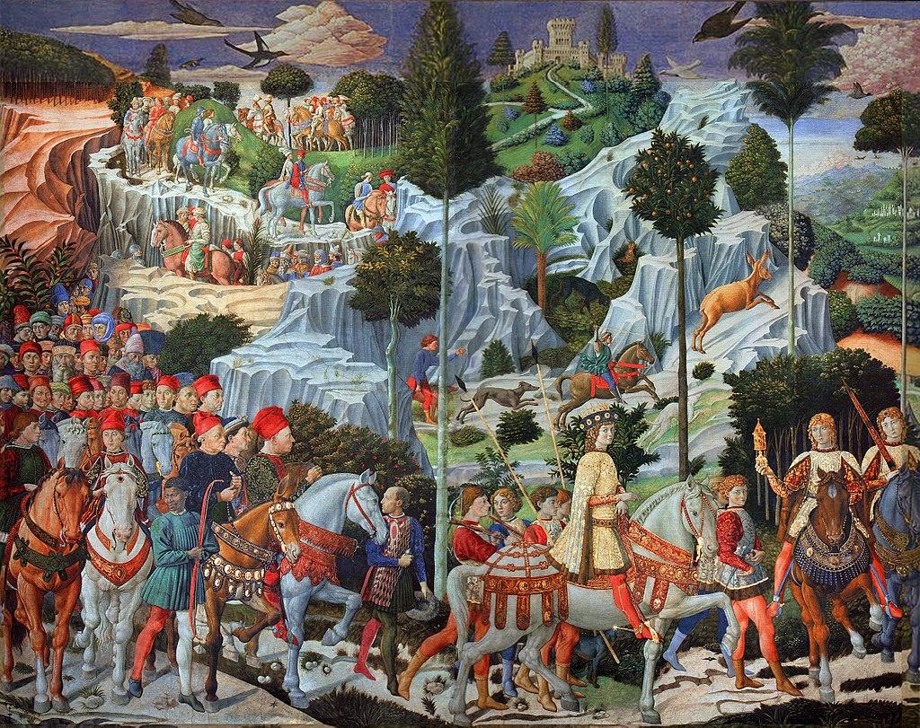Лоренцо Великолепный и его придворные в обличье трёх волхвов. Фреска Беноццо Гоццоли в Палаццо Медичи-Риккарди (1459—1461)