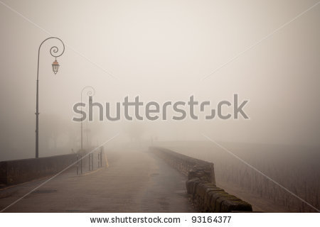 stock-photo-foggy-road-with-old-lamps-france-saint-emilion-toned-and-vignetted-image-93164377