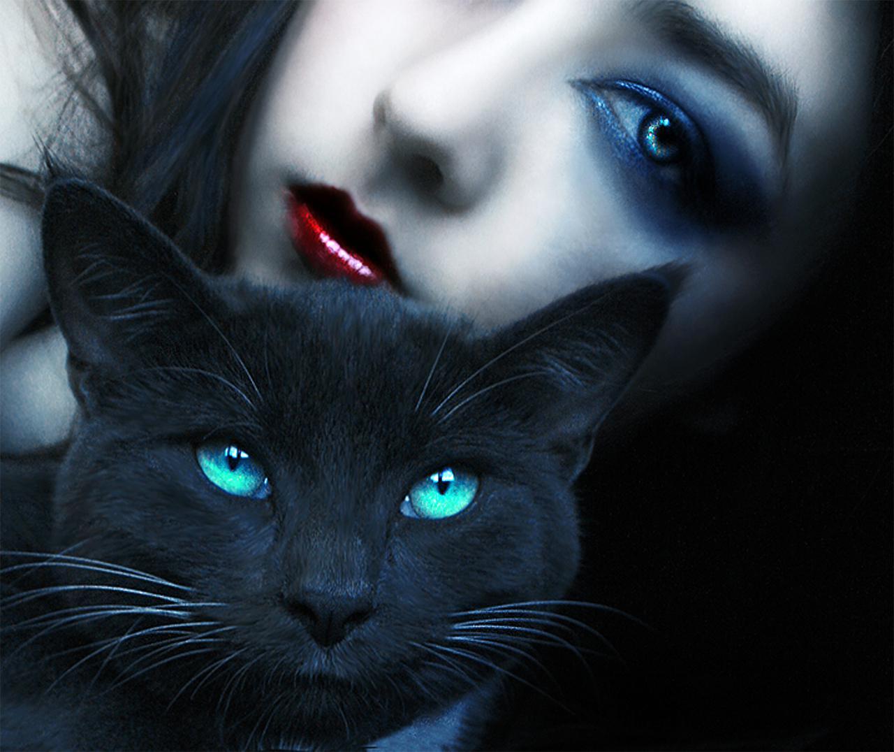 Девушка с чёрным котом фото